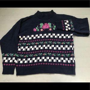 Vintage Irish hand embroidered knit rose sweater